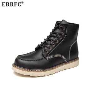 ERRFC New Arrival Mens Black Martin Boots Fashion Winter Warm Man Brown Motorcycle Ankle Boots Male Platform Trending Shoes 46