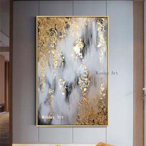 Pintado a mano abstracta moderna de la lona de las pinturas al óleo Aceite de oro de la imagen de la sala pinturas murales de decoración del hogar Abstract Y200102