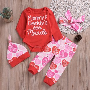 Valentine's Day 4PCS Cute Baby Boys Girls Letter Red Romper Tops Long Sleeve Pants Legging Hat & Headband Outfit Clothes Sets d