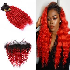 Racine noire oreille à l'oreille Frontal Deep Curly Extension de cheveux de couleur Ombre vague profonde 1B 3Bundles rouge avec 13x4 Frontal