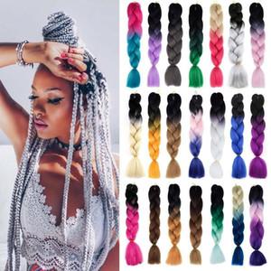 Hot! 1Pcs 24inches Long Ombre Kanekalon Jumbo Synthetic Braiding Hair Crochet Blonde Pink Blue Grey Hair Extensions Jumbo Braids