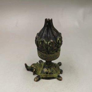 Bronze Antique Pure Copper Nepal Lotus Candlestick Wax Table Decoration Longevity Turtle Base Craft Antique Collection