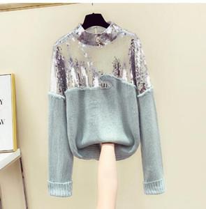 2020 Блестки свитер женщина корейской версии New Winter Heavy Handmade Sequined свитер мохер Свитера Вверх Женские Прицепные Femme Nancylim