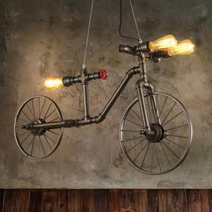 Ferro nórdico Retro Cafe lâmpada pingente Quarto Restaurante Bar Industrial Vento Criativo Individual Luzes Pingente de Bicicleta