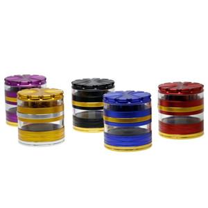 Şeffaf Pencere Bitkisel Öğütücü Alüminyum Alaşım Depolama Öğütücüler 5 Renk Kırıcı 4 Katmanlar 63mm * 70mm El Crank Tütün Öğütücüler Duman
