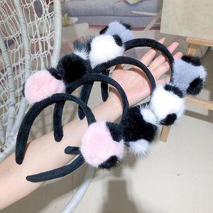New Style Inverno Lã Tecido Plano Design Com Fur Pompom meninas da forma Headbands Acessórios de cabelo hairband alta qualidade