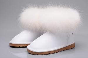 Australien 2020 Winterpelzhutportrait Plüsch warm halten Schnee Ankle Boots Massiv Nubukleder Scuffs im Freien Damen Stiefeletten Schwarz braun weiße Schuhe