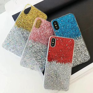 Luxury shining splice Glitter Star Sequin Phone Case For iPhone X XS XR XS Max 6 6S 7 8 Plus Bling transparent Soft Back Cover