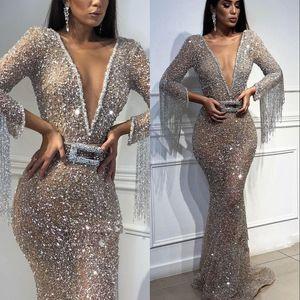 Sparkly Silber Pailletten Mermaid Prom Party Kleider 2019 Sexy Tiefer V-Ausschnitt Lange Ärmel Mit Quaste Formal Frauen Abendkleider