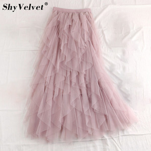 Sweet Ruffled 불규칙한 Maxi Long Tulle 스커트 Fairy A 라인 Pleated Tiered Layered Skirt Flattered 긴 투투 메쉬 스커트 성인