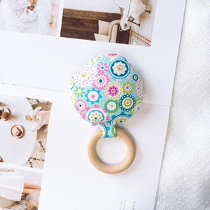 Newborn Baby Teething Ring Chewing Teether Portable Handheld Safety Wooden Natural Ring Baby Teeth Exercise Toy Gift