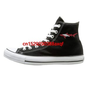 Canvas Shoes Shark Scuba Diving Flag Fashion High-Top Lace Ups Canvas Sneakers For Men Women
