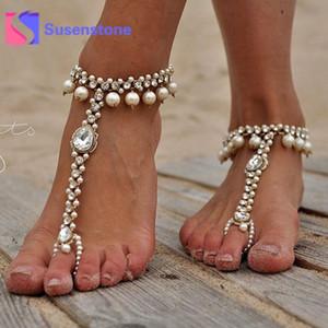 Pé casamento 1pc Fashion Girls Sexy de cristal Beads contas de cadeia Tornozeleiras pulseira de prata das mulheres de ouro Barefoot Sandália Beach jóias