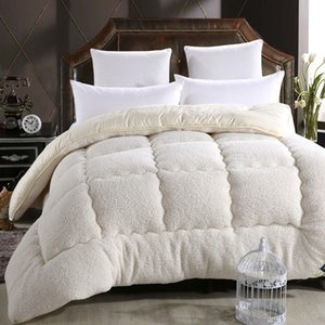 High quality and comfortable Wool material quilted Quilt king queen full size Comforter Winter Thick Blanket Solid Color