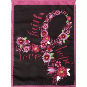 12.5x18 Faith Hope Aşk Bahçe Bayrak Pembe Kurdele Meme Kanseri Bilinçlendirme Çiçek Süslemeleri