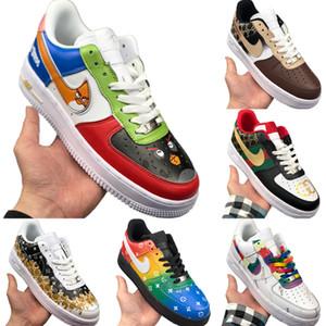 Com Box 2020 AF1 Low Cut Couro Skate Shoes origial AF1 Low Top tampão de borracha Built_in Zoom Air de amortecimento calçados esportivos