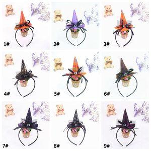 Глава Хэллоуин Kid Аксессуары для волос Witch Hat оголовье лук кружева детей диапазона волос Halloween Cosplay Prop Headdress обруча VT0723