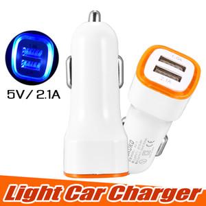 Evrensel LED Çift USB Araç Şarj NOKOKO Araç Taşınabilir Güç Adaptörü 5 V 2.1A iPhone X Samsung S8 Not 8 için OPP paketi ile