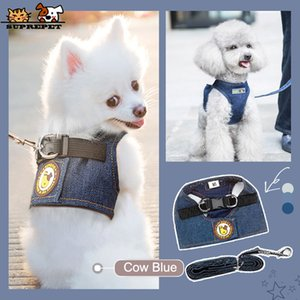 SUPREPET Dog Leash and Collar Set for Puppy Cute Denim Dog Harness Breathable Harness Set Accessories for Small Dogs