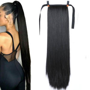 """85см 32 """"Супер длинный прямой клип в хвостовом хвосте Feal Hair Ponytail Hair Ponytail с шпильками синтетические пони хвостовые удлинения"""