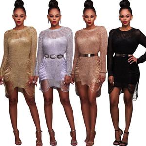 Свободная перевозка груза лета сексуальных женщин Golden Silver Wool платье Perspective выдалбливают Бич Свитера Блуза Солнцезащитный Нерегулярное Мини одежда платье