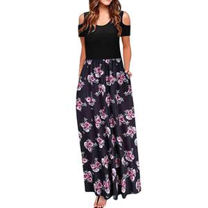 여자의 콜드 숄더 포켓 꽃 프린트 우아한 맥시 반팔 캐주얼 드레스 열대 해변 빈티지 맥시 꽃 드레스 # 30