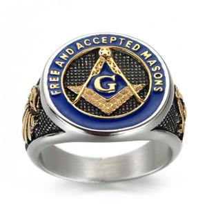 Acciaio inossidabile 316L Sun modo 3pcs Mason Maestro massonica anello degli uomini e stella della luna dell'argento e dell'oro squilla regali di gioielli