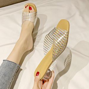 2019 Интернет-знаменитость носить моды сандалии вне слова прозрачны поясов женщин с толстыми каблуками CRYSTAL каблуки sexualsandals тапочек