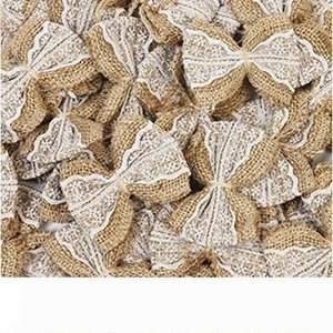 B Hessian Burlap Lace Bows Embellishment Rustic Wedding Party Christmas Tree Craft Decoration (50pcs)