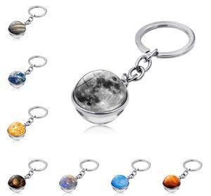 Новые 10 шт. Солнечная система планета брелок Galaxy Nebula Space Keychain Moon Earth Sun Mars Art Picture Double бокового стеклянного шарика