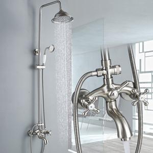Freies Verschiffen Badezimmer 2 Knöpfe kalt und heiß Mixer Shower Combo Set 8-Zoll-Runde Regendusche Head + Handspray Nickel gebürstet