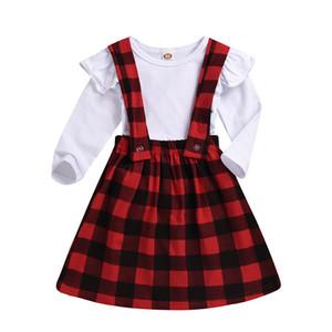 Cabrito de la muchacha Suspender faldas de volantes camisa de manga tops + tela escocesa de la correa de la falda del otoño Equipos caliente 2pcs / set niño del bebé de la ropa del M541
