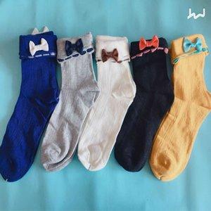 Neues Solid Color Bow mittleres Rohr Cotton Socken reine Farbe der Bowknot-Qualitäts-Herbst-Winter-Damen-Socken Großhandel 5pair / lot