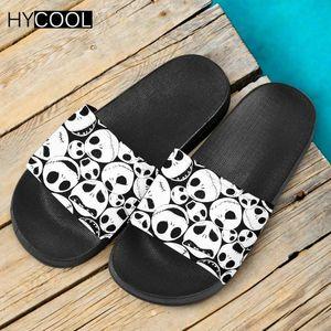 HYCOOL New Style Femmes Hommes Sandales Diapo Etrange Noël Motif 3D Print Chaussures Gothic Skull Plage Flip Flop Slipper