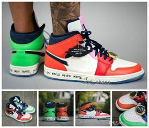 2020 nuevos zapatos de liberación 1 1s baloncesto Medio Sin Miedo X Melody Ehsani mandarina pato reloj de oro de empalme verde zapatos Hombres Mujeres Deportes