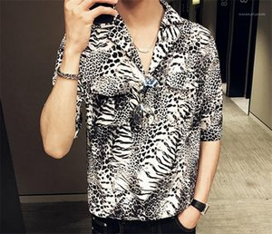 Contrast Color Mens Single Button Tops Mens Designer Leopard Print Shirts Turn Down Collar Casual Tees Short Sleeve