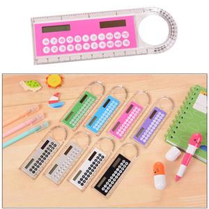 Student Ruler Calculator Plastic Mini Multifunction Calculator 10cm Creative Stationery Portable Solar Calculator Straight Ruler gift
