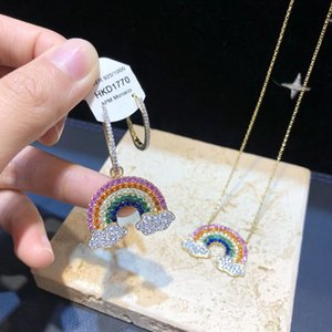 European and American fashion pace gold rainbow Necklace female clavicle chain creative design shiny Zircon Earrings for women