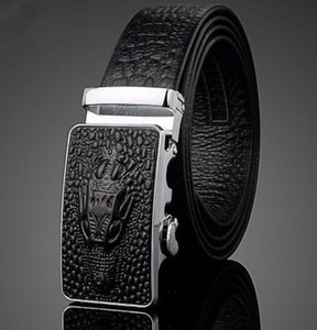 Fashion crocodile pattern automatic buckle leather belt suede cowhide