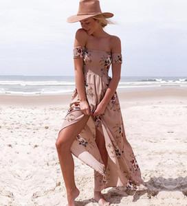Femmes S Bikini 2020 poitrine Enveloppé Imprimer Robes d'été sexy sans manches Robes de plage longue Mer Location de vacances Mer Robes