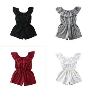 Çocuklar Bebek Kız Yaz Genel Romper Kıyafetler Casual Düz Kısa kollu Kapalı Omuz Tulum tulum Şort Katı Sunsuit Yeni