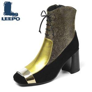المرأة الكاحل أحذية جلد البقر الخريف ساحة شتاء قصير أصفر القطيفة تو البريدي الكعوب العالية أحذية الرجال الحزب أحذية