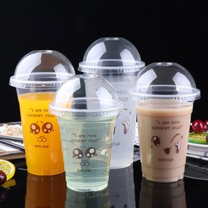 Disposable Plastic Cups Clear Transparent Water Drink Cups with Lid Bulk Wholesale Event Party Supplies Milk Tea Jelly Cups