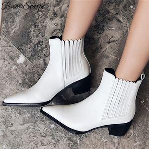 Buono Scarpe Заостренный носок Кожаные ботильоны Эластичные сапоги Женские Western Botas Mujer Модные черные белые туфли Пинетки