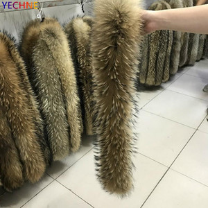 YECHNE 70cm Longth Real Jacket Fur Collar Women Coat Fur Sciarpe Luxury Raccoon Winter Scarf