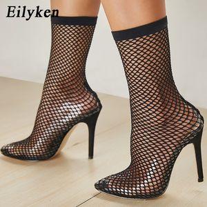 Eilyken 2019 ПВХ мода прозрачная сетка стрейч ткань носок сапоги тонкие каблуки острым носом лодыжки женщина загрузки черный