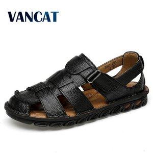 Vancat Hombres Nuevos de verano sandalias de cuero genuino de los zapatos ocasionales de los hombres del estilo de la playa romana sandalias de los zapatos de moda de verano
