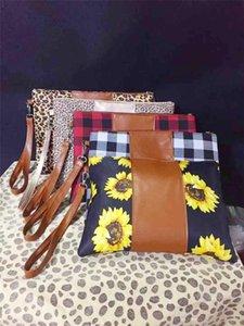 36 Couleurs Femmes Portefeuilles Floral avec Longe Sacs à main Leopard Fleurs Plaid Imprimer Sacs à main en cuir PU Zipper Wallet Coton Patchwork ToteD11601