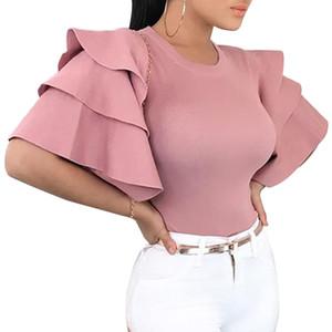 Kadın Ruffles Kısa Kollu Bluzlar 2019 Yaz Zarif O-Boyun Ince Bayanlar Ofis Gömlek Tops Kore Moda Pembe Kırmızı Bluz Blusa Y19050501