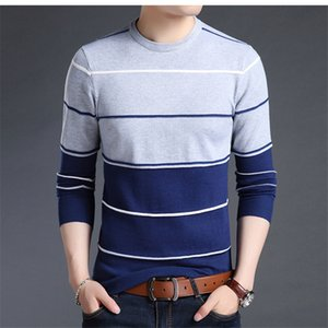 Men Pullover Sweater Striped Print Round Neck Patchwork Male knitted Jersey Striped Sweaters Mens Clothes 2020